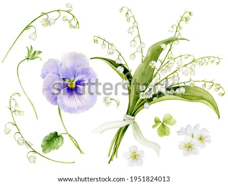 A set of pictures of a bouquet of lilies of the valley, tied with a ribbon, a pansies, and other spring flowers. Watercolor illustration of spring flowers. Stock photo ©