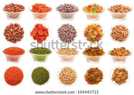 A set of pictures of nuts, legumes and dried fruit in a glass bowl on a white background.