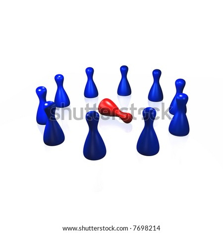 a set of playing pawns - High resolution image isolated on white. Conceptual content