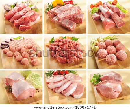 A set of pork and beef meats on cutting boards