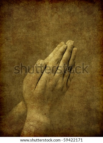 stock photo A set of praying hands image has been textured and