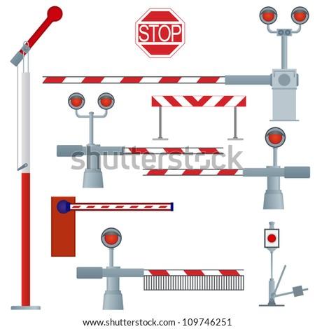 A set of railway gates. The illustration on a white background.