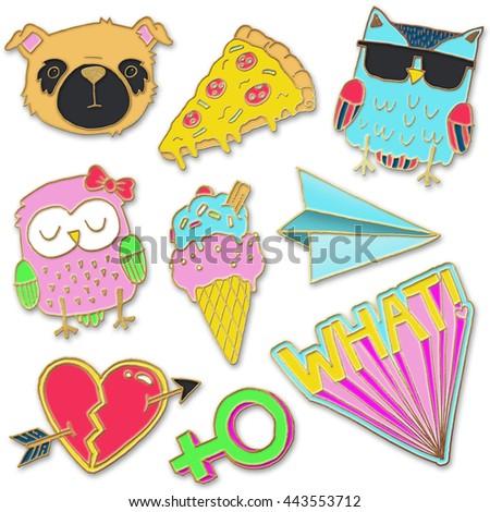 A set of realistic enamel pin badges