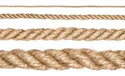 A set of rope of different sizes closeup on isolated white background. Each one is shot separately