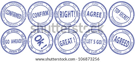 A set of round stamps for the business documents