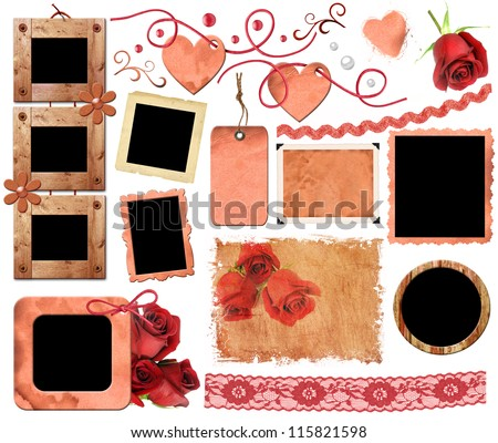 A set of scrap elements, frames, photo edges and texture of the paper. Template for the album design in vintage style. On a white background