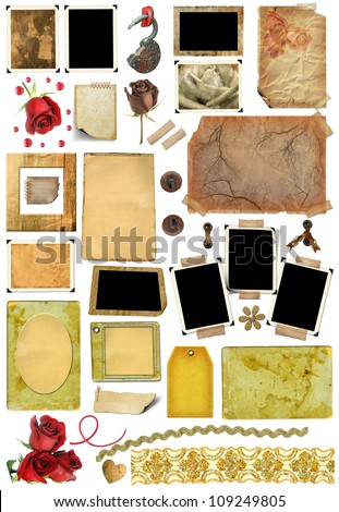 A set of scrap elements, picture frames, photo edges and texture of the paper. Template for the album design in vintage style. On a white background - stock photo