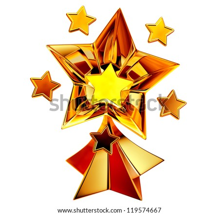 a set of seven shiny gold stars in motion for advertise