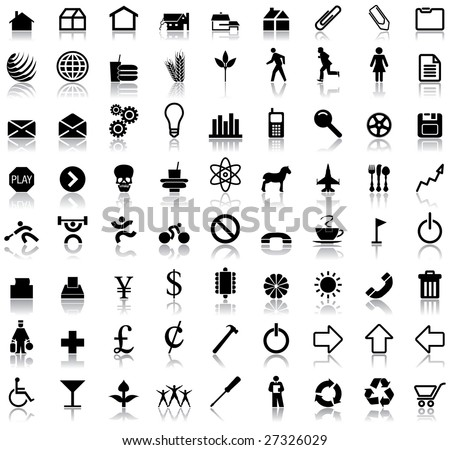 A set of seventy two icon symbols with reflections