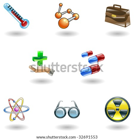 A set of shiny glossy medical icons