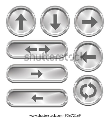A set of 8 shiny metallic arrow buttons.