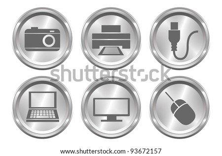 A set of 6 shiny metallic device buttons.