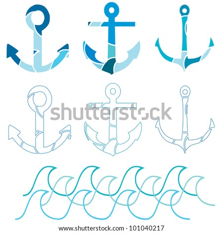 A set of Ship anchor icons with a section of waves - stock photo