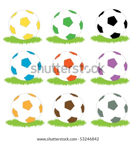 A set of simple coloured soccer ball icons on patches of grass