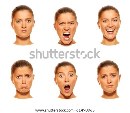 A set of six faces showing different emotions