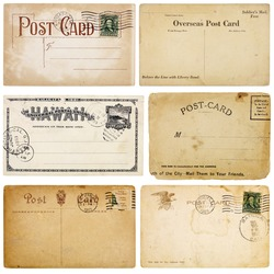 A set of six heavily aged postcards from early 1900s. Each card is blank with room for your text and images. Isolated on white with clipping paths.