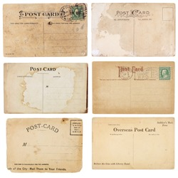 A set of six mildly heavily distressed vintage from early 1900s. Postcards are blank with room for your text and images. Isolated on white with clipping paths.