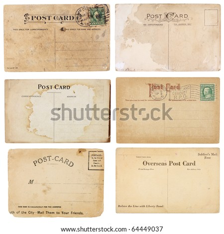 A set of six mildly heavily distressed vintage from early 1900s Postcards are blank with room for your text and images Isolated on white with clipping paths