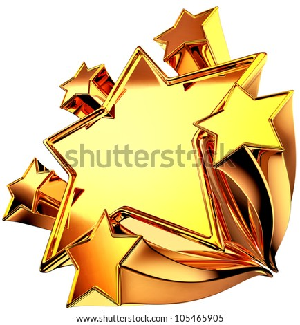 a set of six shiny gold stars in motion for advertise
