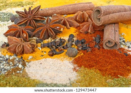 A set of spices on wooden cutting board.