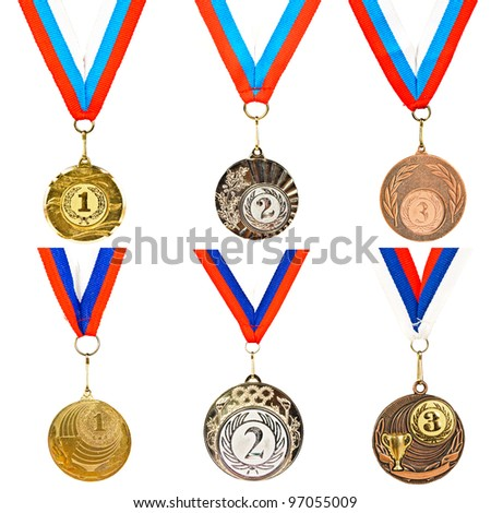 A set of sports medals. Photos on white background - stock photo