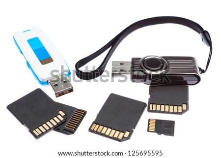 A set of storage memory. On a white background.