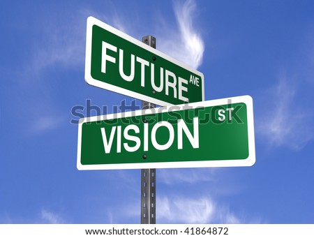 a set of street signs with future and vision on them