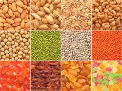 A set of textures of nuts, legumes and dried fruits.