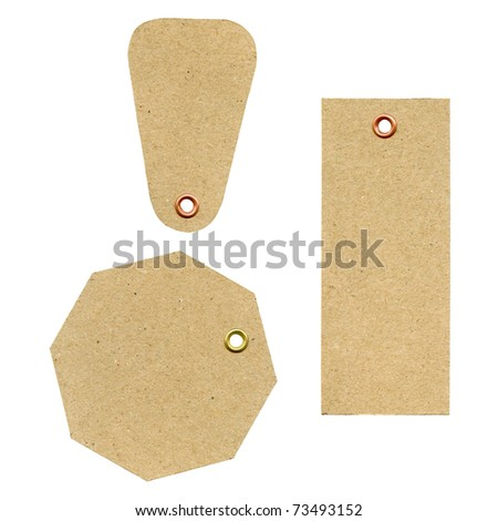 A set of three blank new brown rough paper tags, used for selling clothes etc., isolated on white background