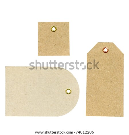 A set of three blank new brown rough paper tags, used for selling clothes etc., isolated on white background, highly detailed
