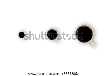 A set of three coffee cups in different size with white background. flat lay, top view, minimal style. less but more.