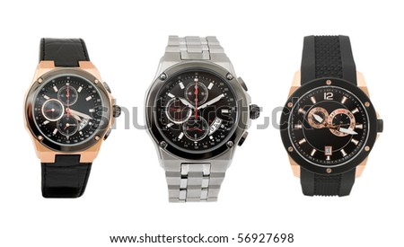 a set of three different mens watches over white