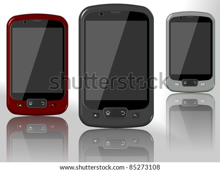 A set of three mobile phones on the white background / Mobile phones