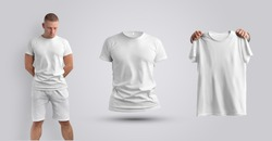 A set of three mockups of a white T-shirt on a man, 3d and in his hands. Template for design presentation clothing isolated on white background. Front view.