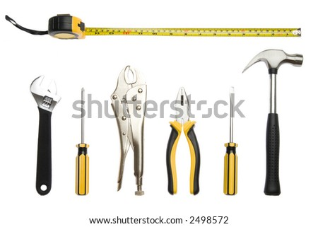 A set of tools - isolated on white - stock photo