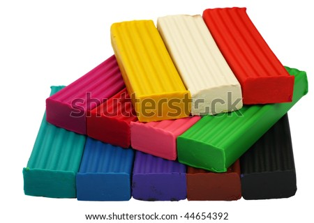 A set of twelve colors of Modelling clay. Modelling and design for children.