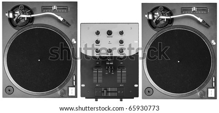 A set of two turntables and a mixer isolated on white background