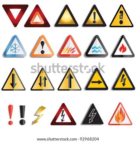 A set of various hazard and warning triangles, JOG version
