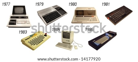 a set of vintage computers and controllers