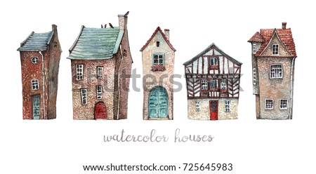 A set of watercolor illustrations of old European houses with wooden doors, tile roofs and flowers on the windowsills.