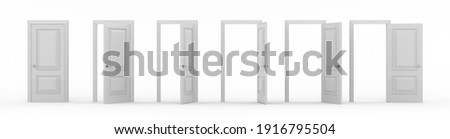 A set of white wooden doors at different stages of opening. 6 stages. Collection of doors. Entrance and doorways. Closed and open way. Choice, business and success concept. 3d render