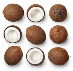 A set of whole and cracked coconuts isolated on white background. Top view.