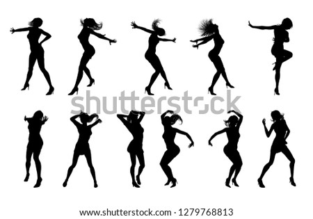 A set of woman dancers dancing in silhouette