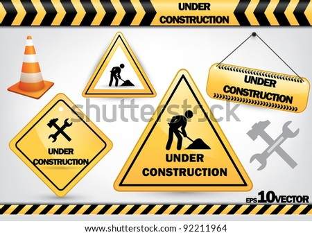 a set of work in progress symbols isolated on white background - Jpeg version of vector illustration