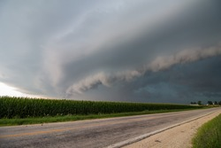 A severe thunderstorm accompanied by a menacing shelf cloud rapidly approaches.
