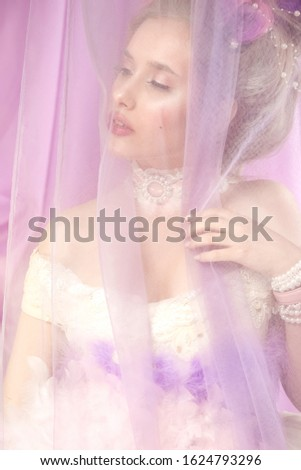 A sexy girl, in a romantic low-necked dress, stylized as the Marie Antoinette style, with a high hairdo decorated with flowers and feathers, behind a translucent veil.
