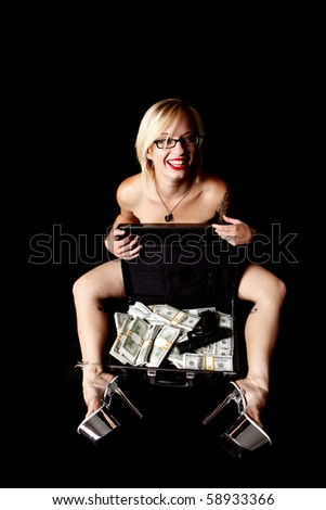 A sexy nude woman with a briefcase of cash and a gun.