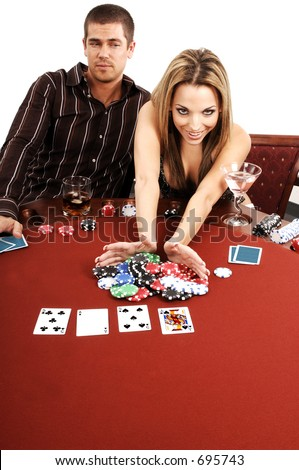 A sexy young blond goes big on an All in bet in a high stakes Texas Holdum Poker game Card backs are a digitally created design