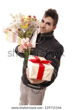 A sexy young man who gives gifts to the girls for anniversary or Valentine, with jacket and modern hairstyle.