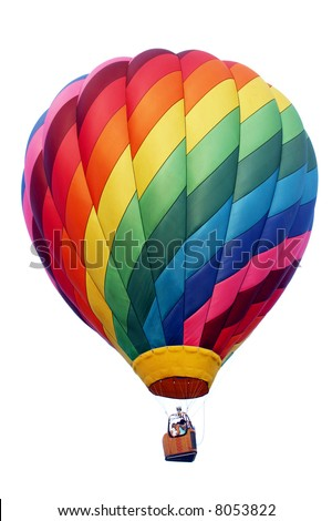 A shadowless & evenly illuminated, colorful hot air balloon. The perfect accent guaranteed to draw attention to your advertisement. Isolated on white. #8053822